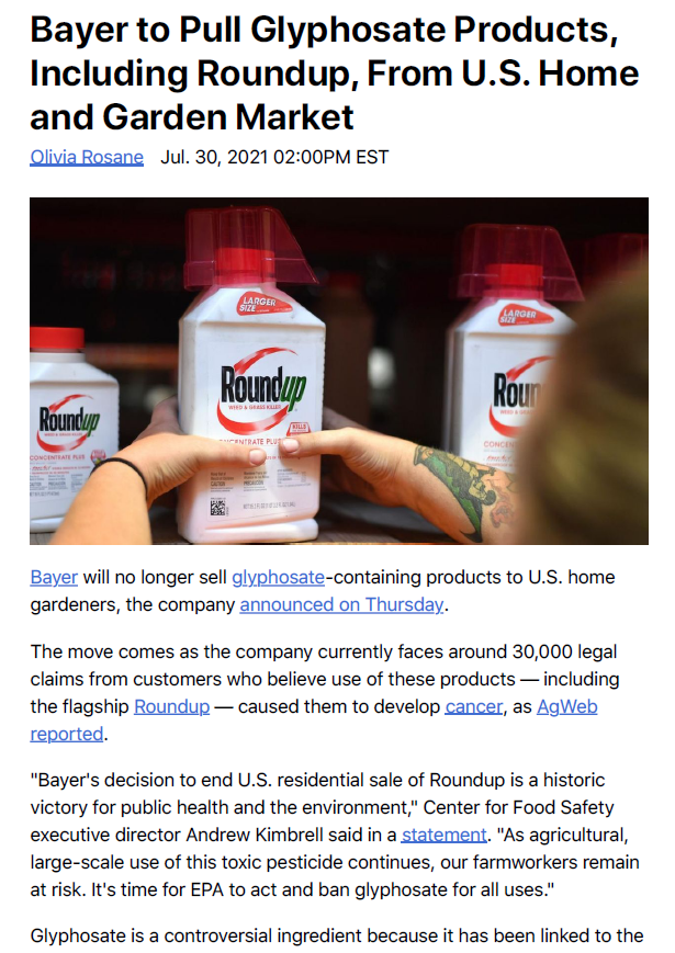 20210806 - Bayer to exit home and garden market glyphosate products